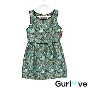 NWT Xhilaration L Green Metallic Floral Dress